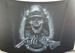 Guns money airbrush hood Jelle Pelle Paint Custom Airbrush jellepelle.com